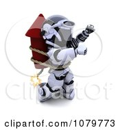 Clipart 3d Robot Strapped To A Rocket Firework Royalty Free CGI Illustration by KJ Pargeter