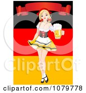 Oktoberfest Pinup Holding Out A Pint Of Beer Under A Banner And Over A German Flag