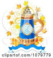 Clipart Blue Oktoberfest Beer Stein With Autumn Leaves And A Wavy Banner Royalty Free Vector Illustration