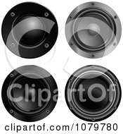 Clipart 3d Black Music Speakers Royalty Free Vector Illustration by Pushkin