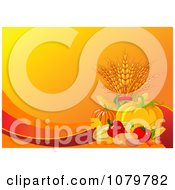 Clipart Autumn Harvest Background With Orange Copyspace Royalty Free Vector Illustration