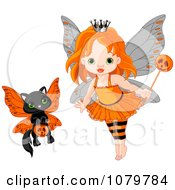 Clipart Halloween Fairy Girl And Kitten Royalty Free Vector Illustration