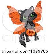 Clipart Cute Halloween Fairy Kitten Royalty Free Vector Illustration