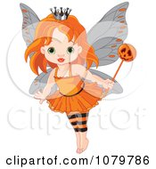 Clipart Halloween Fairy Girl With A Pumpkin Wand Royalty Free Vector Illustration