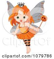 Halloween Fairy Girl With A Pumpkin Wand
