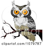 Clipart Orange Eyed Owl On A Branch Royalty Free Vector Illustration by Pushkin