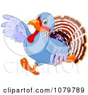 Clipart Cute Turkey Running And Pointing Royalty Free Vector Illustration