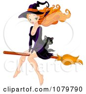 Beautiful Witch Riding A Broomstick With A Kitten