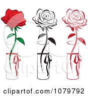 Set Of Red And Black Single Roses In Vases