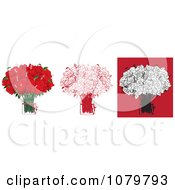Sets Of Two Dozen Red And Black Floral Arrangements Of Roses In Vases