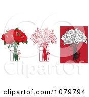 Sets Of 6 Red And Black Floral Arrangements Of Roses In Vases
