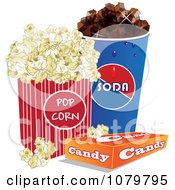 Clipart 3d Fountain Soda Box Of Candy And Movie Popcorn Royalty Free Vector Illustration by Vitmary Rodriguez #COLLC1079795-0040