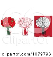 Clipart Sets Of A Dozen Red And Black Floral Arrangements Of Roses In Vases Royalty Free Vector Illustration