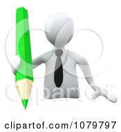 Clipart 3d White Businessman Writing With A Green Pencil Royalty Free CGI Illustration