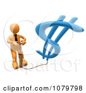 Clipart 3d Orange Businessman Inflating A Dollar Symbol With A Pump Royalty Free CGI Illustration