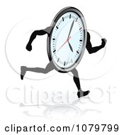 Clipart Running Clock And Reflection Royalty Free Vector Illustration