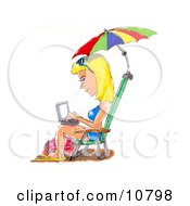 A Blond Woman In A Blue Bikini Sandals And Sunglasses Seated In A Beach Chair Under An Umbrella Typing On A Laptop Computer