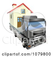 Clipart 3d Lorry Truck Moving A Home Royalty Free Vector Illustration