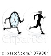 Clipart Silhouetted Female Runner Trying To Beat Her Best Time Royalty Free Vector Illustration