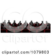 Clipart Silhouetted People Sitting In Cinema Theater Chairs Royalty Free Vector Illustration