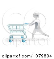 Clipart 3d Silver Person Pushing A Shopping Cart Royalty Free Vector Illustration