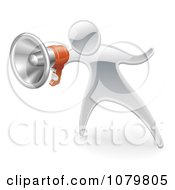 Clipart 3d Silver Person Announcing With A Megaphone Royalty Free Vector Illustration