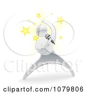 Clipart 3d Silver Person Singing With Stars Royalty Free Vector Illustration by AtStockIllustration