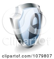 Clipart 3d Blue And Silver Security Padlock Shield Royalty Free Vector Illustration