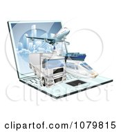 Clipart 3d Logistics Shipping Vehicles Over A Laptop Computer Royalty Free Vector Illustration by AtStockIllustration