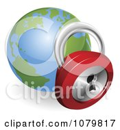 Clipart 3d Padlock And Globe Featuring The Atlantic Royalty Free Vector Illustration