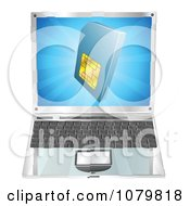 Clipart 3d Blue SIM Card Over A Laptop Computer Royalty Free Vector Illustration by AtStockIllustration