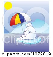 Hot Polar Bear Sitting Under A Parasol On Melting Ice