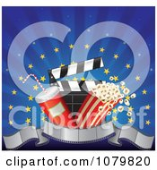 3d Film Strip Banner With Popcorn Soda And A Clapper Over Blue Rays And Gold Stars
