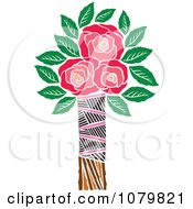 Clipart Three Red Roses In A Tribal Vase Royalty Free Vector Illustration