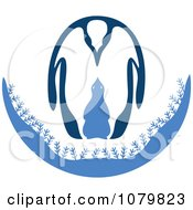 Clipart Adult And Baby Penguin In Blue Royalty Free Vector Illustration