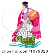 Clipart Woman Carrying A Jar Royalty Free Vector Illustration by pauloribau
