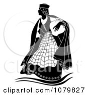 Clipart Black And White Woman Carrying A Vase Royalty Free Vector Illustration by pauloribau