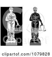Clipart Black And White Versions Of Lady Justice Royalty Free Vector Illustration by pauloribau