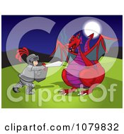 Clipart Knight Fending Off A Red Dragon Royalty Free Vector Illustration