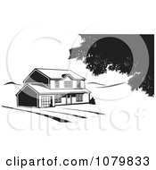 Clipart Black And White House On Acreage Royalty Free Vector Illustration by David Rey