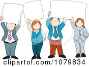 Clipart Group Of Business People Holding Up Blank Signs Royalty Free Vector Illustration by David Rey