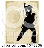 Clipart Shooting Security Guard Over Grungy Tan Royalty Free Vector Illustration
