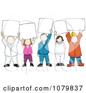 Clipart Group Of People Holding Up Blank Signs Royalty Free Vector Illustration by David Rey