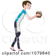 Clipart Male Potter Holding Out A Pottery Vase Royalty Free Vector Illustration by BNP Design Studio