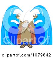 Clipart Moses Parting Water Royalty Free Vector Illustration