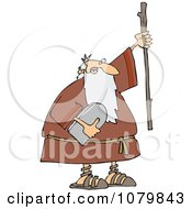 Clipart Moses Holding The Ten Commandments Tablet And Stick Royalty Free Vector Illustration by djart