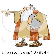 Clipart Moses Holding The Ten Commandments Tablet And Pointing Royalty Free Vector Illustration