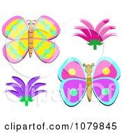 Butterflies And Bushy Flowers