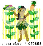 Clipart Hula Girl With Flowers And A Pineapple Royalty Free Vector Illustration by bpearth