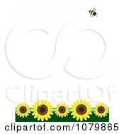 Summer Border With A Flying Bee And Sunflowers On White